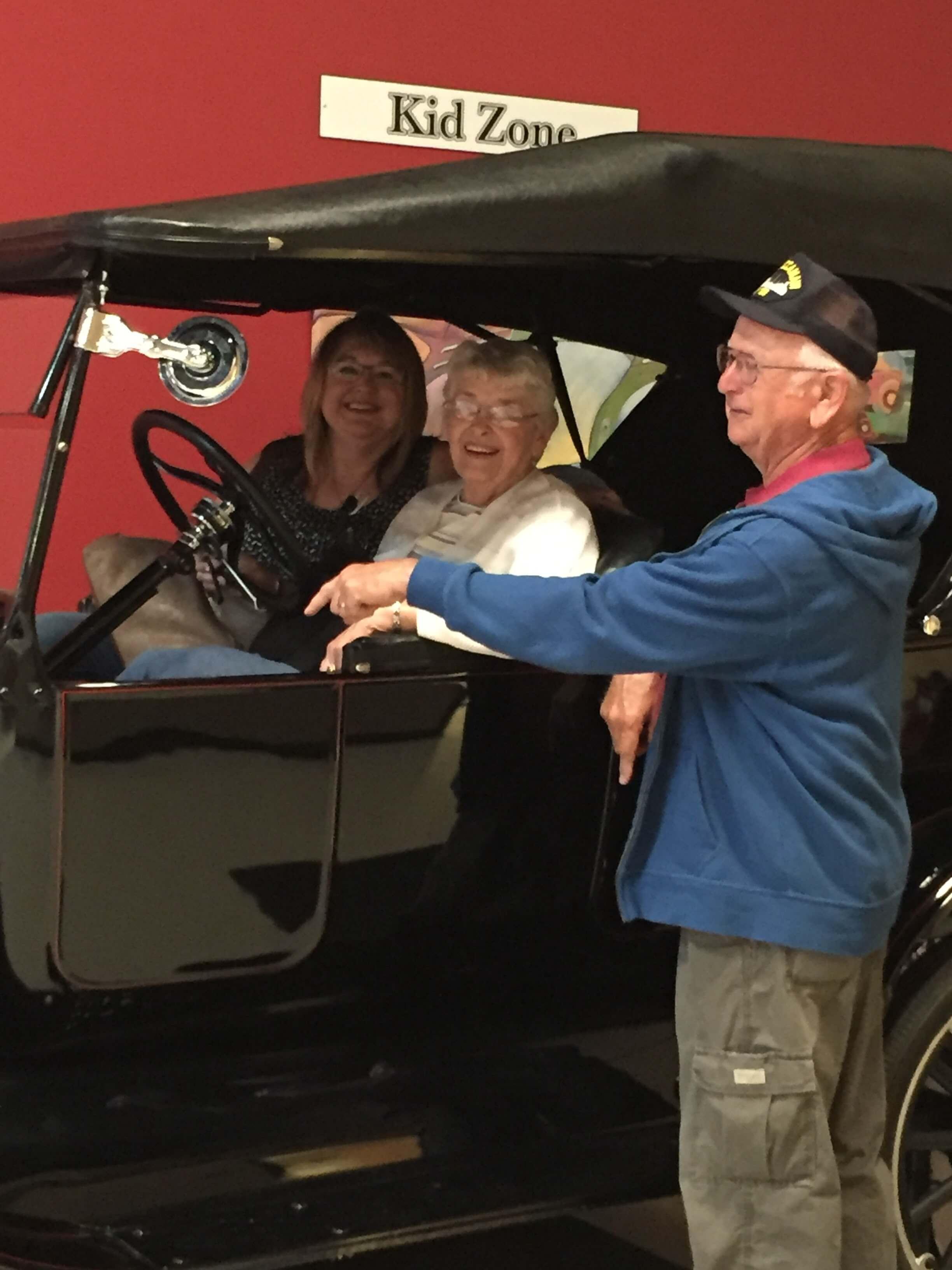 Sue, Mom, Dad, Car museum, Nebraska, 2017