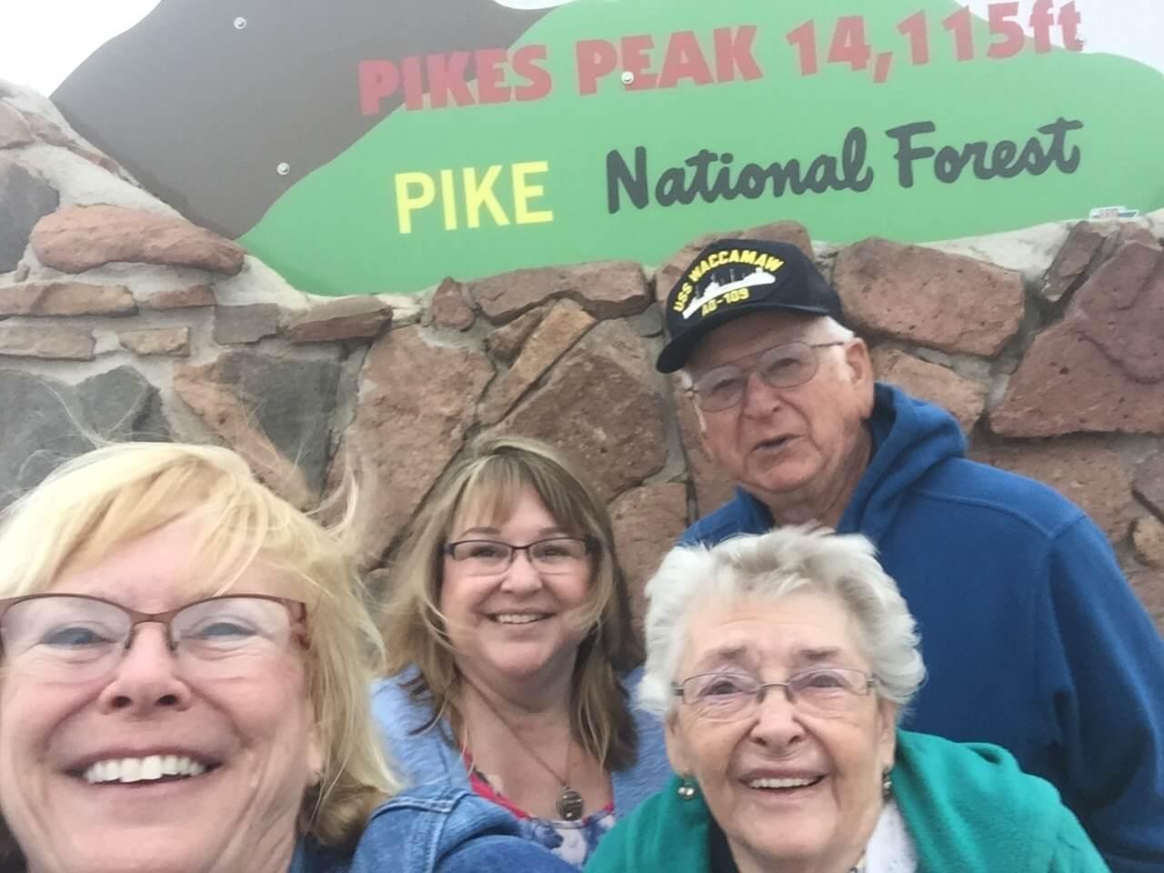 Kim, Sue, Mom, Dad, Summit Pike's Peak, Colorado, 2017